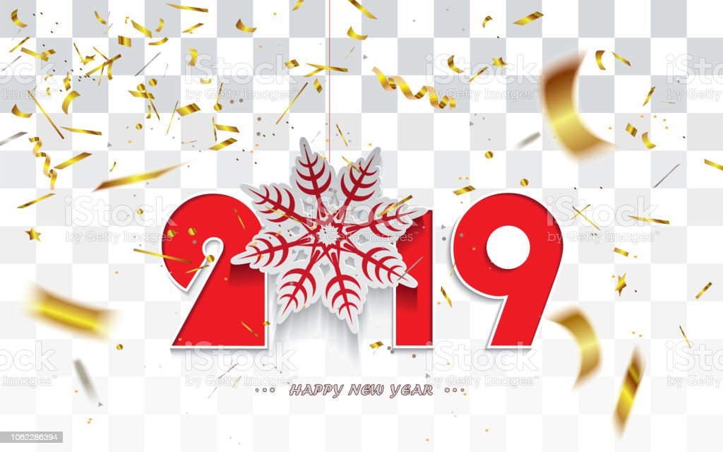 happy new year 2019christmas card with snowflake and golden transparent confetti isolated on a