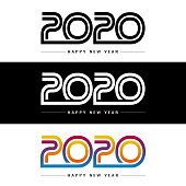 Abstract gradient Happy New Year 2020 Banners for your Christmas. EPS 10 vector illustration, contains transparencies. High resolution jpeg file included.