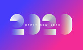 Abstract gradient Happy New Year 2020 Background for your Christmas. EPS 10 vector illustration, contains transparencies. High resolution jpeg file included.