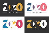 Abstract gradient Happy New Year 2020 Backgrounds for your Christmas. EPS 10 vector illustration, contains transparencies. High resolution jpeg file included.
