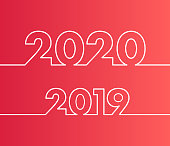 Happy New Year 2019 and 2020 background. Calendar design typography vector illustration. Year number with outline digits.