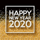 A Happy New Year 2020 sign on a white paper background. The vector file is built in the CMYK color space for optimal printing. EPS contains transparencies.