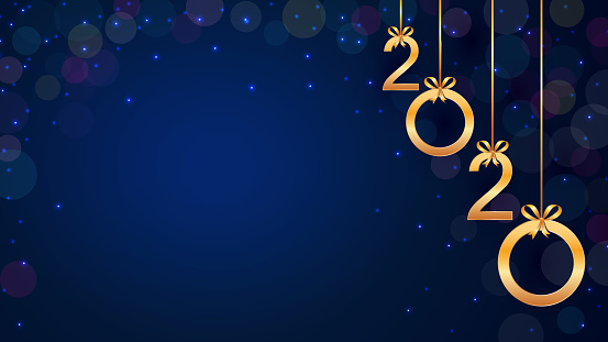 Happy New Year 2020 background with hanging golden numbers, glitter, bokeh and snow. Modern template design for holiday banner, poster, flyer, invitation. Year of the rat. Copy space