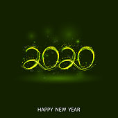 Happy New Year 2020 background.Vector illustration for holiday design.Party poster.Greeting card,banner or invitation template.
