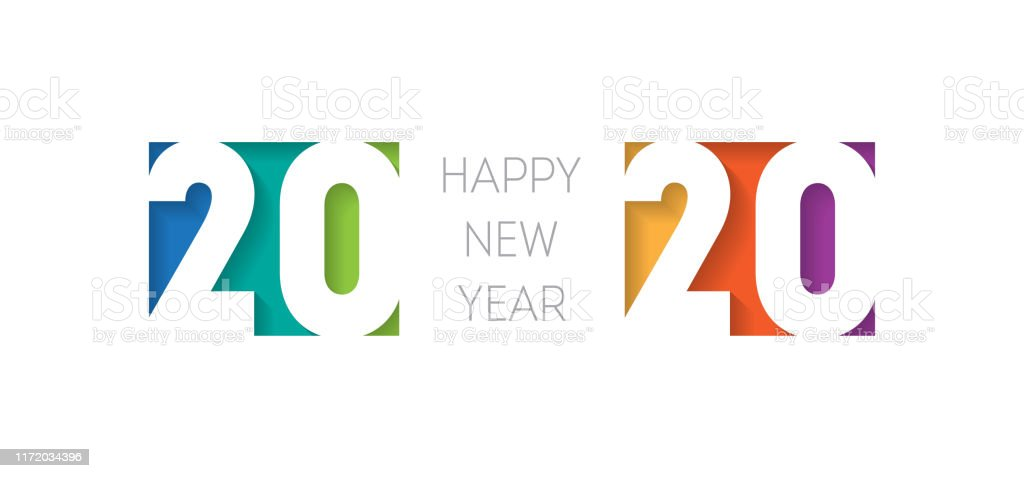 Happy new year 2020 banner. Brochure or calendar cover design template. Cover of business diary for 20 20 with wishes. The art of cutting paper. - Royalty-free 2020 arte vetorial
