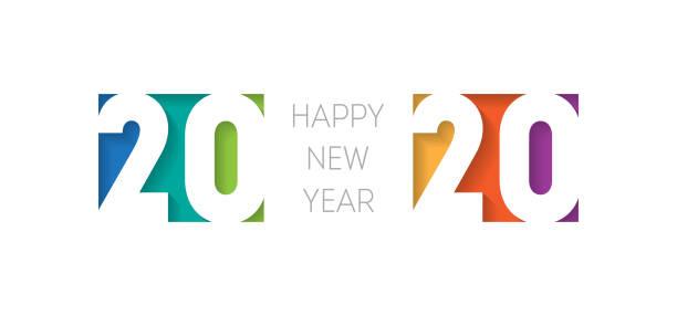 ilustraciones, imágenes clip art, dibujos animados e iconos de stock de feliz año nuevo 2020 banner. plantilla de diseño de cubierta de folleto o calendario. portada del diario de negocios para 20 20 con deseos. el arte de cortar papel. - víspera de año nuevo