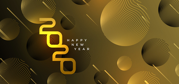 Happy new year 2020 banner with golden geometric luxury design. Vector illustration eps 10 modern style.