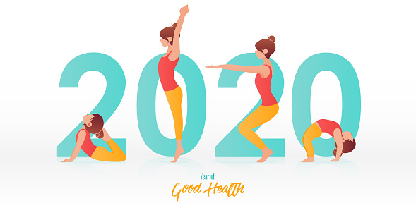 Happy New Year 2020 banner with kid yoga poses. Year of good health. Banner design template for New Year 2020 decoration in Yoga Concept. Vector