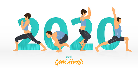 Happy New Year 2020 banner with yoga poses. Year of good health. Banner design template for New Year 2020 decoration in Yoga Concept. Vector.