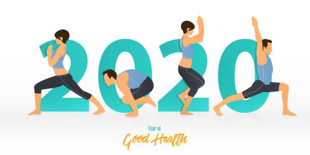 bildbanksillustrationer, clip art samt tecknat material och ikoner med gott nytt år 2020 banner med yogaställningarna. år av god hälsa. banner design mall för nyår 2020 dekoration i yoga koncept. vektor. - calendar workout