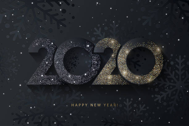 Happy New Year 2020 beautiful sparkling design of numbers on black background with texture of black snowflakes and shining falling snow. Happy New Year 2020 beautiful sparkling design of numbers on black background with texture of black snowflakes and shining falling snow. Trendy modern winter banner, poster or greeting card template new years day stock illustrations