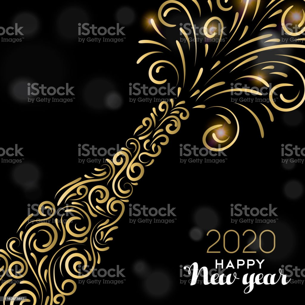 Happy New Year 2020 greeting card illustration. Luxury gold champagne...