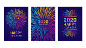 Modern New year colorful fireworks. Editable set of vector illustrations on layers.  This is an AI EPS 10 file format, with transparencies and one clipping mask.
