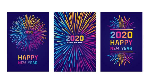 ilustraciones, imágenes clip art, dibujos animados e iconos de stock de feliz nuevo año 2020 juego de tarjetas - año nuevo