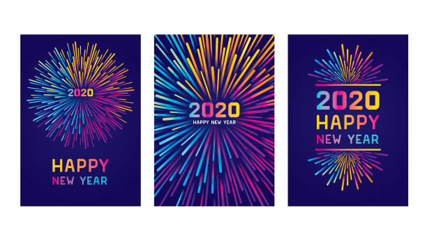 새해 복 주 2020 카드 세트 - new year stock illustrations