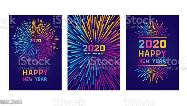 Happy New Year 2020 Card Set - Arte vetorial de stock e mais imagens de 2020