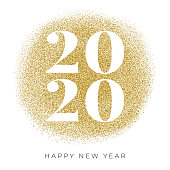 Happy New Year 2020 card with golden glitter. Stock illustration