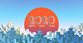 Abstract geometric city building and sunrise blank space pastel color tone background with happy new year 2020 celebration greeting text