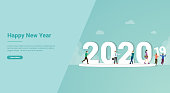 happy new year 2020 change from 2019 for website template or landing homepage banner - vector illustration