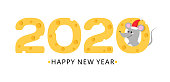 Happy new year 2020 cheese and mouse vector card. Symbol or new 2020 year mouse in red Santas hat and cheese figure