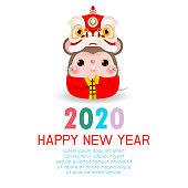 Happy New Year 2020. Chinese New Year. The year of the rat. Happy New Year greeting card with cute Little rat with Lion Dance Head, background illustration Vector
