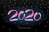 Happy New Year 2020 colorful hand drawn brushstroke oil acrylic paint lettering calligraphy design template with snow. Vector poster illustration on black background