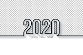Happy new year 2020 with space for your text and your background. Creative greeting card in a trendy and modern style. Blank background for easy change background or texture. The layers are named to facilitate your customization. Vector Illustration (EPS10, well layered and grouped). Easy to edit, manipulate, resize or colorize.