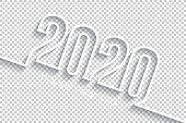 Happy new year 2020 with space for your text and your background. Creative greeting card with a flat design style and long shadows. Blank background for easy change background or texture. The layers are named to facilitate your customization. Vector Illustration (EPS10, well layered and grouped). Easy to edit, manipulate, resize or colorize.
