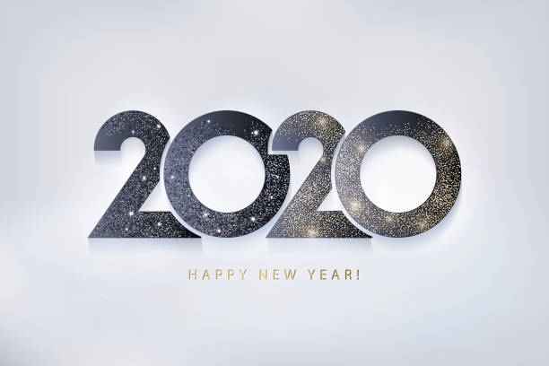 happy new year 2020 design. modern trendy 2020 glittering black and gold numbers isolated on light background - new years day stock illustrations