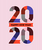 Happy New Year 2020 design. Multicolored abstract numbers with stripes and ribbons on pink background. Elegant vector illustration in retro style for holiday calendar or greeting card