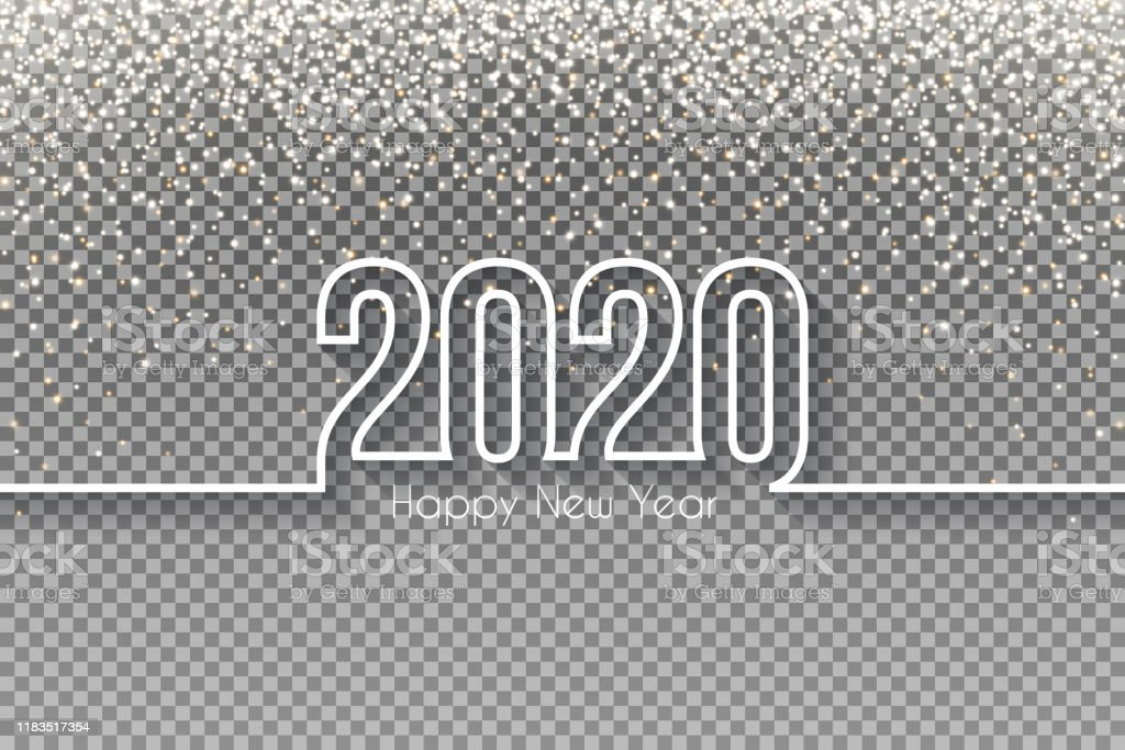 Happy new year 2020 Design with gold glitter - Blank Background - Royalty-free 2020 stock vector