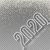 Happy new year 2020 with gold glitter. Space for your text and your background. Creative greeting card in a trendy and modern style. Blank background for easy change background or texture. The layers are named to facilitate your customization. Vector Illustration (EPS10, well layered and grouped). Easy to edit, manipulate, resize or colorize.