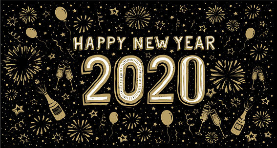 Happy New Year 2020 Doodle New Years Eve Greeting Card ...