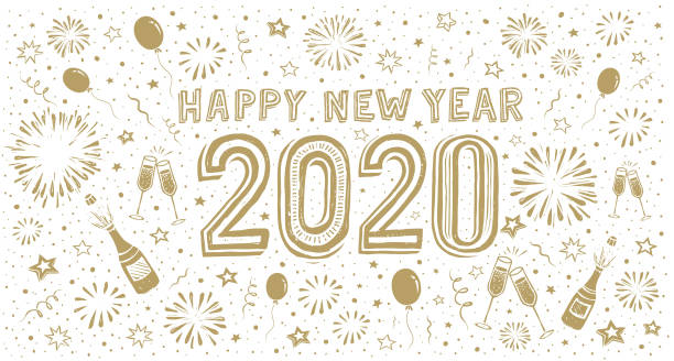 Happy new year 2020. Doodle new year's eve greeting card vector art illustration