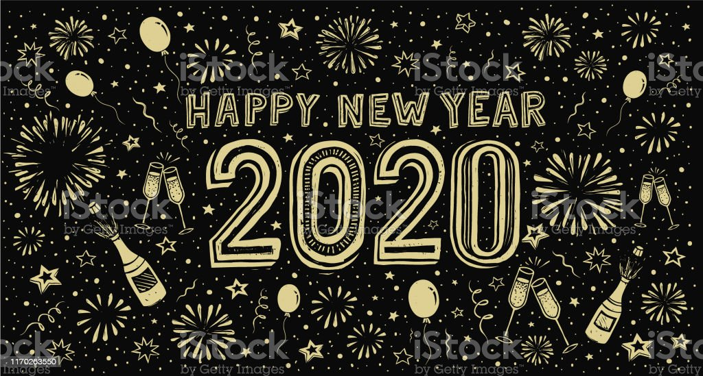 Happy new year 2020. Doodle new year's eve greeting card - Royalty-free 2020 arte vetorial
