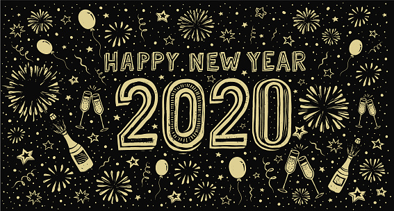 Happy new year 2020. Doodle new year's eve greeting card
