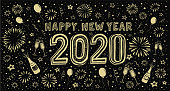 New Year's card with fireworks. You can edit the colors or sizes easily if you have Adobe Illustrator or other vector software. All shapes are vector