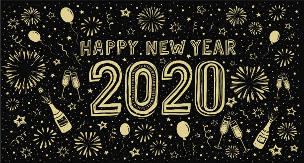ilustraciones, imágenes clip art, dibujos animados e iconos de stock de feliz año nuevo 2020. tarjeta de felicitación de noche de año nuevo doodle - víspera de año nuevo