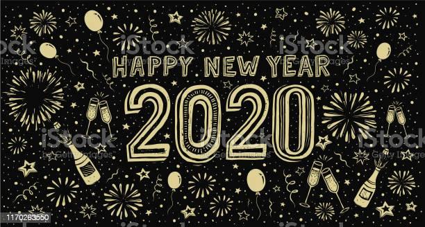 Happy New Year 2020 Doodle New Years Eve Greeting Card - Arte vetorial de stock e mais imagens de 2020