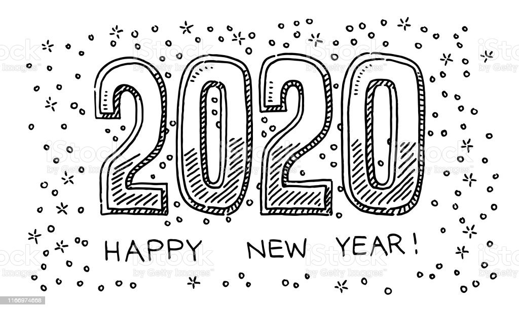 happy new year 2020 drawing stock illustration