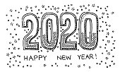 Hand-drawn vector drawing of a Happy New Year 2020. Black-and-White sketch on a transparent background (.eps-file). Included files are EPS (v10) and Hi-Res JPG.