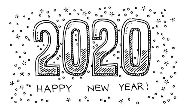 Happy New Year 2020 Drawing Hand-drawn vector drawing of a Happy New Year 2020. Black-and-White sketch on a transparent background (.eps-file). Included files are EPS (v10) and Hi-Res JPG. celebration stock illustrations
