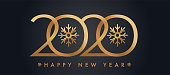 Glittering gold 2020 New Year's Eve card or web banner.