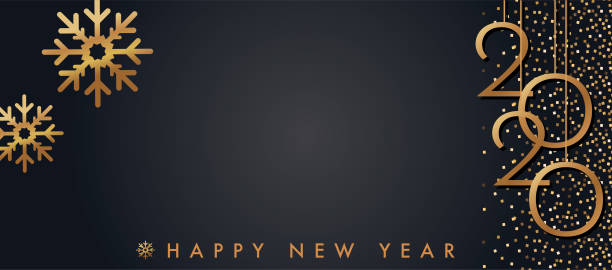 Happy New Year 2020 Gold And Black  Greeting Card Banner Template. Shiny Gold Color vector art illustration