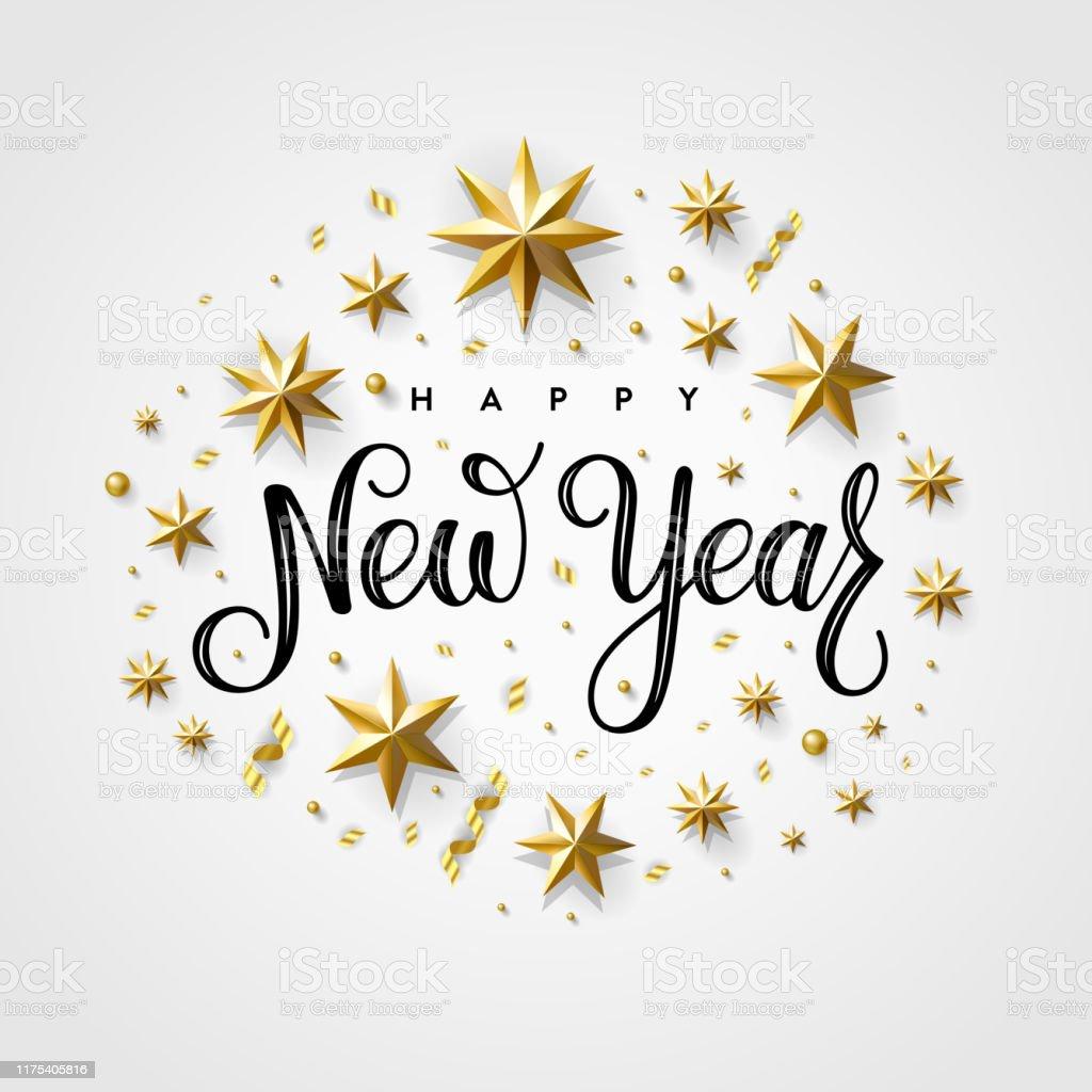 Happy New Year 2020 Gold Star Gray - Royalty-free 2020 arte vetorial