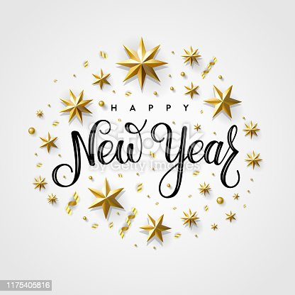 Happy New Year 2020. Lettering Composition With Stars And Sparkles. Holiday Vector Illustration.