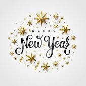 Happy New Year 2020 Gold Star Gray