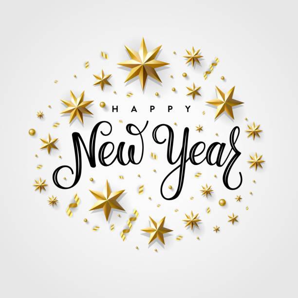 ilustraciones, imágenes clip art, dibujos animados e iconos de stock de feliz año nuevo 2020 estrella de oro gris - año nuevo