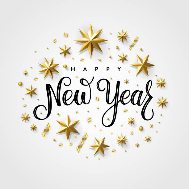 Happy New Year 2020 Gold Star Gray Happy New Year 2020. Lettering Composition With Stars And Sparkles. Holiday Vector Illustration. 2020 stock illustrations