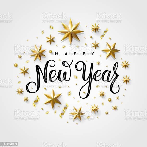 Happy New Year 2020 Gold Star Gray - Arte vetorial de stock e mais imagens de 2020